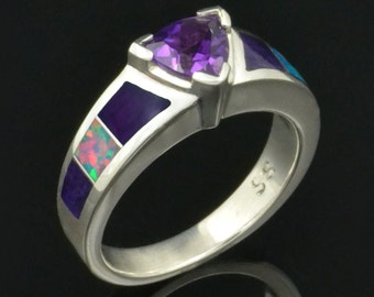 Amethyst Engagement Ring or Wedding Ring with Sugilite and Lab Opal Accents in Sterling Silver