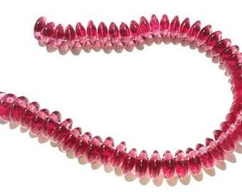 6mm Lentil Beads - Fuchsia -  CzechMate 2 Hole Bead / 2 Hole Lentil Bead
