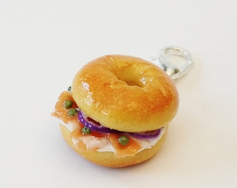 Lox and Cream Cheese  Bagel Charm - Polymer Clay Food Charm - Miniature Food Jewelry - Bagel Jewelry - Smoked Salmon Bagel Charm