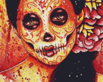 Sugar Skull Cross Stitch Kit, Carissa Rose 'The Kill', Day of the Dead , Orange Sugar Skull, Counted Cross Stitch, Dia De Los Muertos,