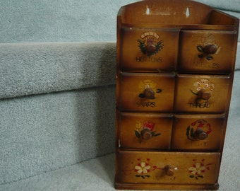 Vintage Wooden Sewing Notions Storage Cupbpard Circa 1950s Country Cottage Chic!