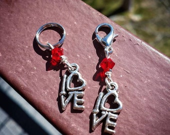 SALE Little Love MINI: Set of 2 Love Sign Stitch Markers for Knitters & Crocheters