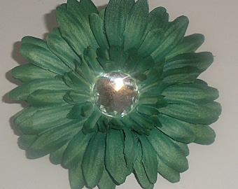 Hunter Green Jeweled Gerbera Daisy Hair Clip