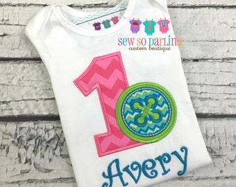 Cute as a button birthday outfit - Cute as a button outfit  - baby girl birthday outfit - Cute as a button outfit -2nd birthday button shirt
