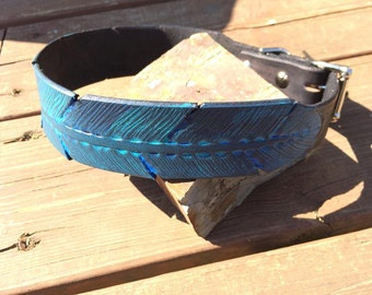 Small Feather Dog Collar Black/Turquoise