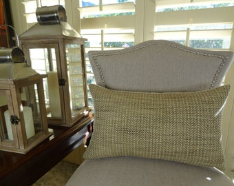 """SALE - 25.00 - 10"""" x 20"""" Lumbar - Light Brown Tan Textured Throw Pillow Cover - Neutral Lumbar Pillow - Weave Textured Tan Pillow - 11017"""