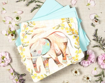 Elephant Notecard Set  | Blank Cards | Stationery | Katie Daisy
