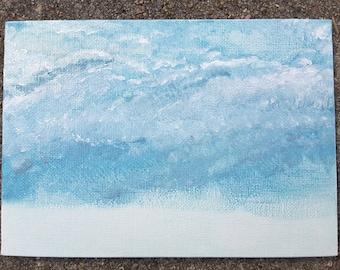 Cloudy Sky #1 original acrylic painting (5 x 7)