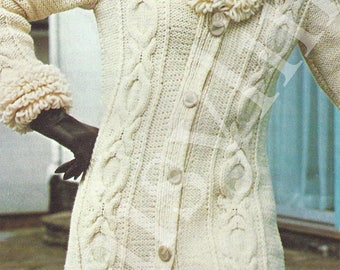 Instant PDF Download ladies aran cable coat knitting pattern  34 to 40 inch bust chic trendy (117)
