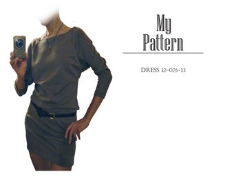Pattern knit dress with 3/4 length sleeves