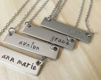 Personalized Cross Bar Necklace in Stainless Steel