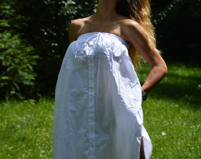 Maxi White Cotton Tunic, Oversize Loose Shirt, Sexy Woman Dress, Plus Size Buttoned Top by SSDfashion