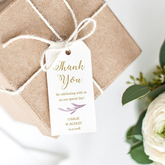 """Lilac Thank You Tags 2x4"""" Printable Wedding Favor Tags, Wedding Thank You Tags, Gift Tags, 'Lilac Wedding', Edit in WORD or PAGES"""