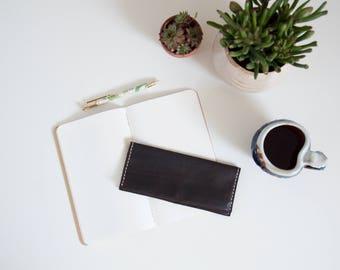 Leather wallet // Long espresso brown handmade minimalist leather women's smartphone wallet