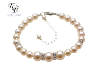 Wedding Bracelet Swarovski Pearl Crystal Bracelet Bridal Bracelet Bridesmaid Jewelry Simple Pearl Bracelet Bridesmaid Bracelet FREE Gift Box