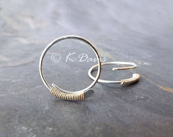 Silver Open Hoop Gold Wrapped Sleeper Earrings, choose your size, jewelry gift for her, womens gift, womanmade
