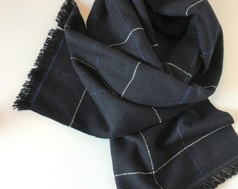 "Cashmere Scarf Handwoven Dark Navy Window Pane Check 20"" x 79"""