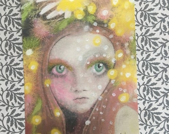 Big Eyed Daisy Hippie Boho Yellow Pop Surrealism Girl Portrait Art Painting