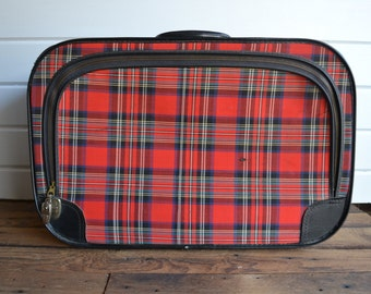 Vintage Retro Tartan Red Black Plaid Soft Travel Suitcase Luggage