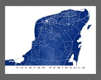 Yucatan Map Print, Yucatan Peninsula Art, Yucatan, Mexico, Cancun, Playa Del Carmen