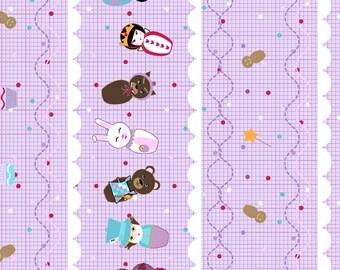 SALE/CLEARANCE Kelly Lee-Creel, Storybook Lane, Drama Queens Grid Purple (Color T) Fabric - Half Yard