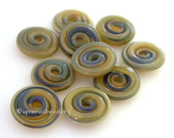 DARK LICHEN Wavy Spiral Disks Handmade Lampwork Glass Bead Set - TANERES