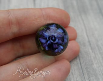 Everlasting Rose Marble, Purple , unusual gift, collectible glass art, sphere, lampwork, flower, implosion