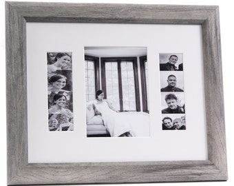 Photo Booth Event Frame - Holds 1- 5x7 Photo and 2- 2x6 Photo Strips with Mat Great for Wedding, Birthdays or any Event