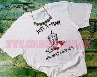 Just a Mama Who Loves Chick Fil A vintage style triblend short sleeve womens t-shirt, ladies top, Chik-fil-a Shirt