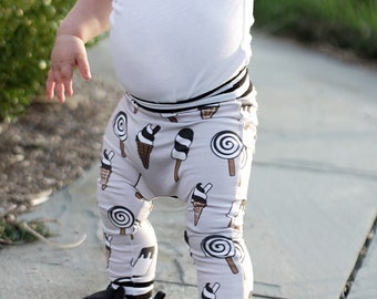 Ice Cream, Baby Harem Pants, Harem Pants, Gender Neutral Baby Clothes, Baby Leggings, Toddler Harem Pants, Baby Boy Clothes, Baby Pants