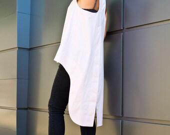 Tunic Top/ White Women Blouse/ Women's Clothing/ Asymmetrical Plus Size Maxi Top/ Black Top blouses/ Plus Size Clothing by YoLineXL