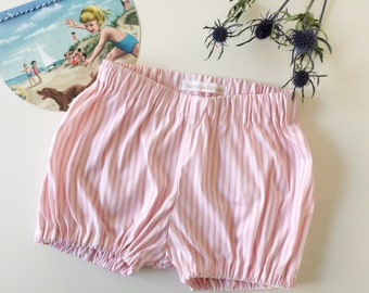 Bloomers, shorts, pants, pink and white striped cotton