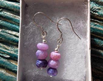 Purple Opal earrings, 925 sterling silver - Dusky Evening