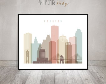 Houston art print skyline, Houston poster, Wall art, Texas cityscape, Travel poster, Gift, Typography art, Home Decor, ArtPrintsVicky
