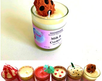 100% Soy Wax, Milk & Cookies Candle, Scented, Dessert Candles, Stunning, Mini, Long Lasting Candles, Unique