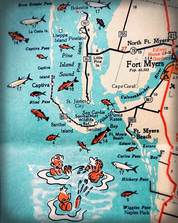 Sanibel Island Fort Myers Beach Retro Beach Map Print Funky - Map of west coast of florida