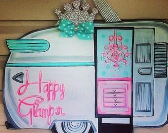 Happy glamper door hanger
