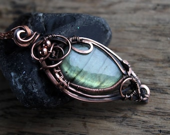 Lage stone pendant boho Wire wrap pendant Extra long necklace  Copper 7th anniversary gift Labradorite pendant Gifts for mother