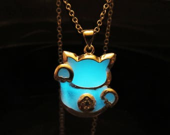 Kitten pendant with sterling silver chain glow in the dark