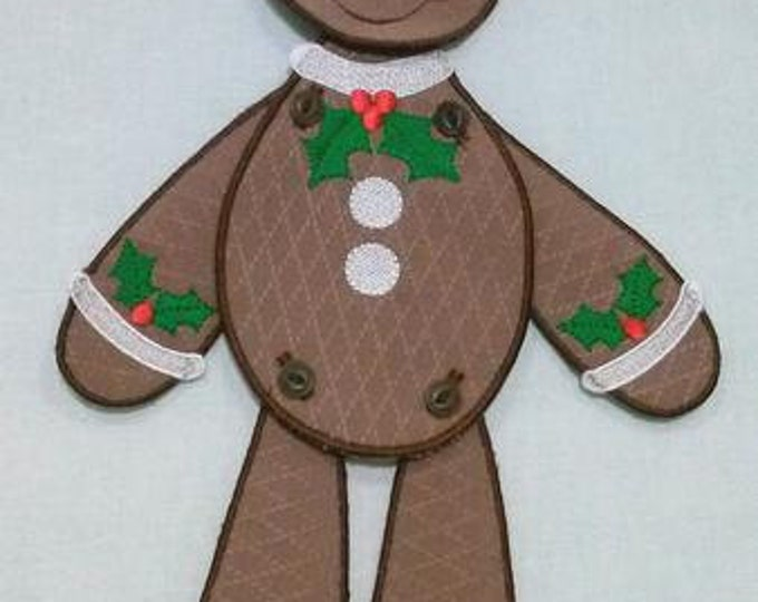 """Gingerbread Man Embroidery Project - 14"""" Tall ( Requires 5x7 Hoop or larger )"""