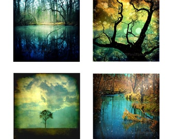 Nature Photography Surreal Trees Set of 4 Four Art Prints Teal Blue Yellow Decor Photography 5x5 Print Pack Enchanted Forest