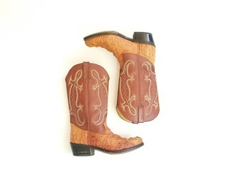 Vintage Mens 6.5e Durango Cowboy Riding Boots Pull On Country Western Moto Boots Genuine Crocodile Alligator Ostrich Exotic Southwestern
