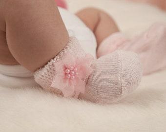 Pink Newborn Socks Baby Girl Socks with Little Flowers