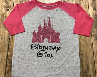 Birthday Girl Disney Castle Baseball Style Shirt,  Youth Disney Shirt