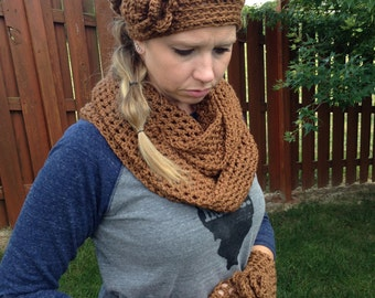 Cowl, Hat & Fingerless Glove Set-Brown Cowl, Hat, Fingerless Gloves