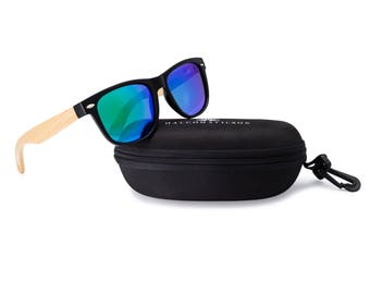 Wooden Wayfarer Sunglasses by Halcom Stilson. Eco-Friendly Bamboo Arms with Polarized Lenses.  100% UV Protection for Men & Women.