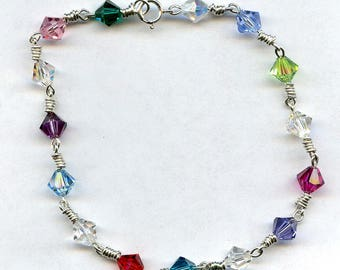 Rainbow Swarovski Crystal Sterling Silver Bracelet