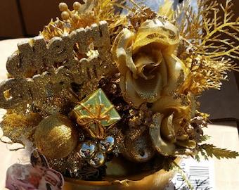 Christmas Decoration Tabletop Golden Merry Christmas