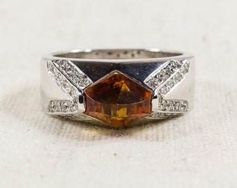 Gorgeous 18K White Gold Women's Pyramid 3.00ct Citrine 0.34ctw Diamond Accented Right Hand Ring Size 7.25 - 9.1 grams FREE SHIPPING!