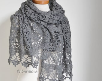 Lace crochet shawl, Grey, P461